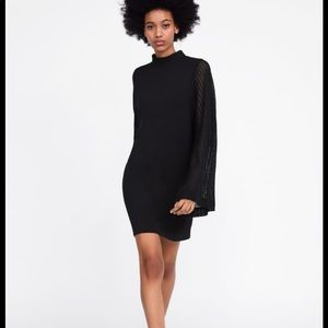 Zara black mini dress with contrast net sleeves